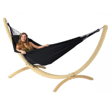 Wood & Classic Black Eénpersoons Hangmatset