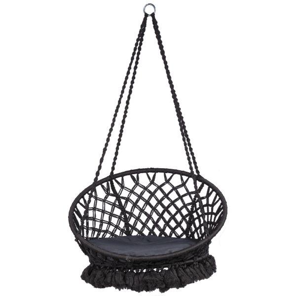 'Macramé' Black Hangstoel