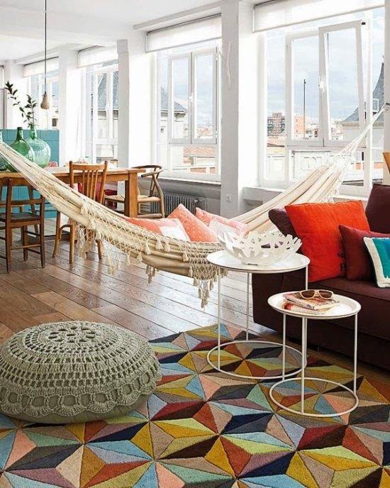 Hangmat in huis geeft sfeer en een exotisch tintje